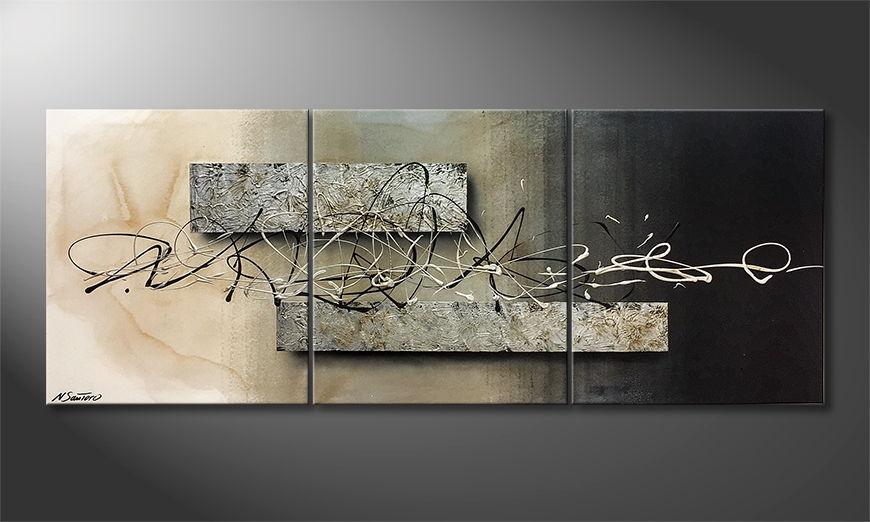 De schilderij Traces 180x70x2cm
