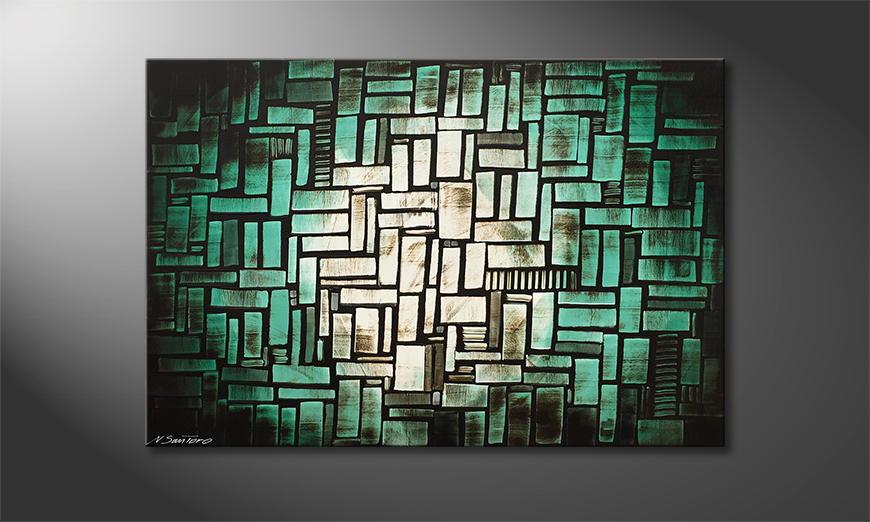 De schilderij Turquoise Moon 120x80x2cm