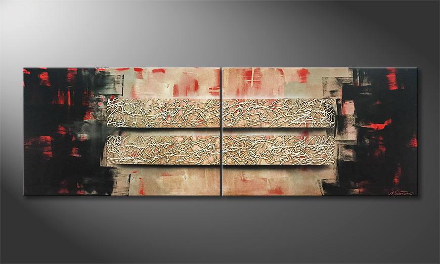 De schilderij Two Ways 180x60x2cm