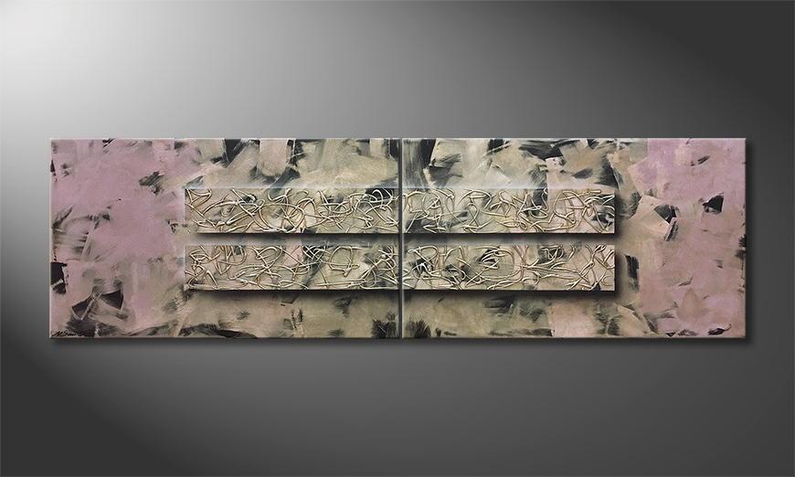 De schilderij Whispery Silver 200x60x2cm