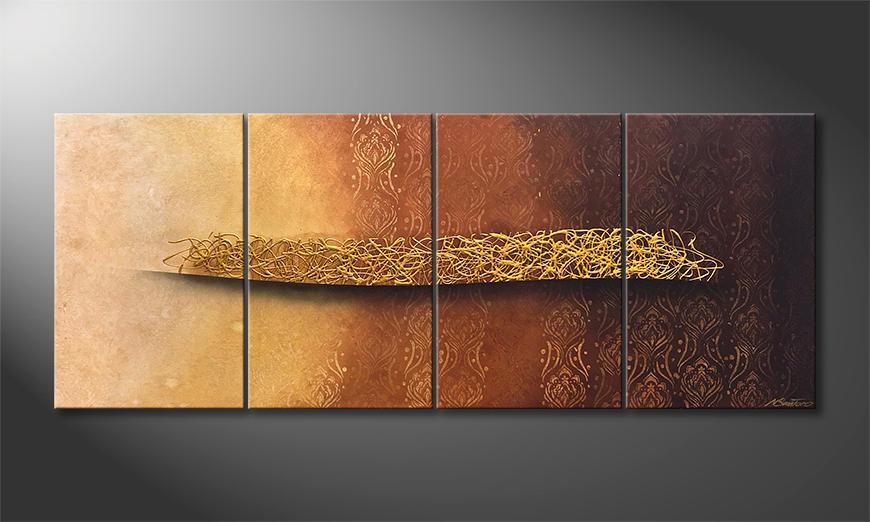 Exclusieve schilderij Golden Whisper 200x80x2cm