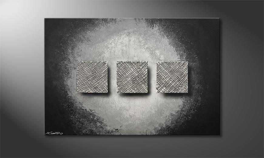 Exclusieve schilderij Silver Weave 120x80x2cm