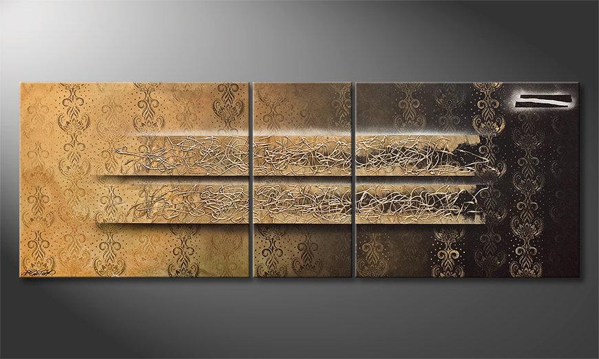 Het aardige schilderij Shinning Gold 220x80x2cm