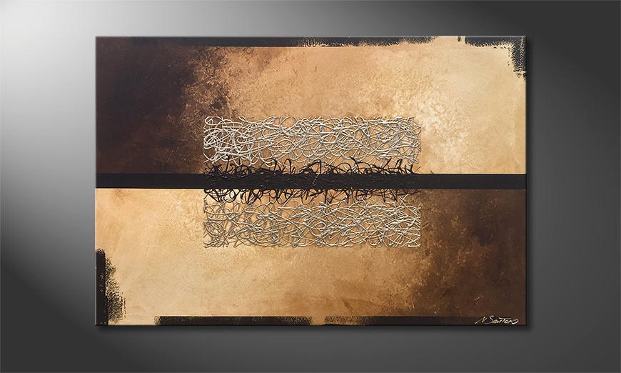 Het canvas Divided Silver 120x80x2cm