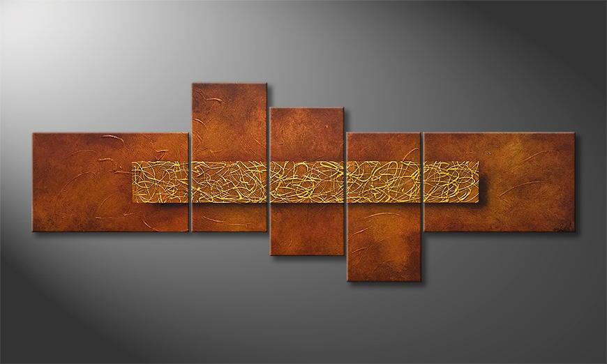 Het canvas Golden Cage 210x80x2cm