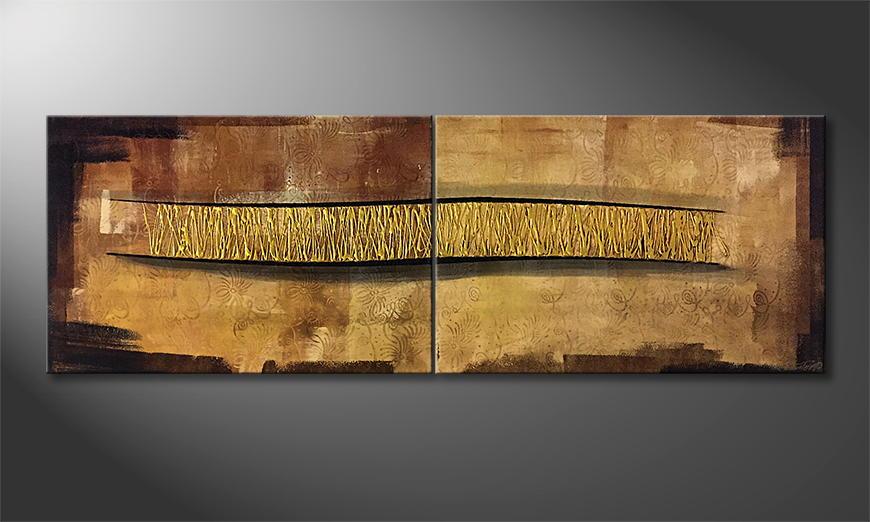 Het canvas Golden Connection 180x60x2cm