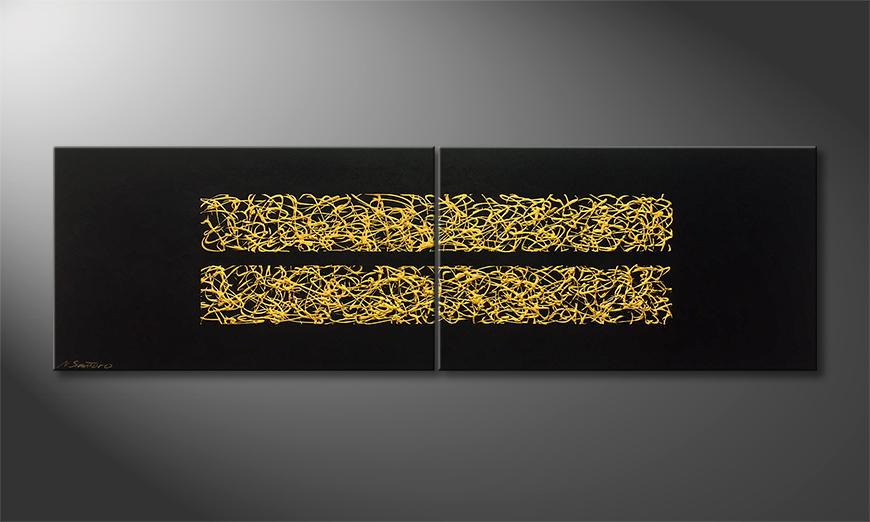 Het canvas Golden Moments 200x60x2cm