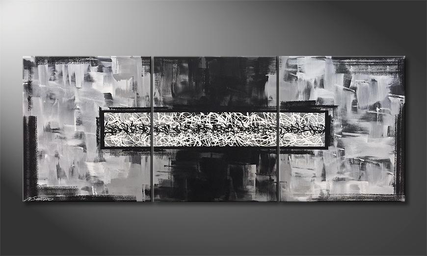Het canvas Riven White 180x70x2cm