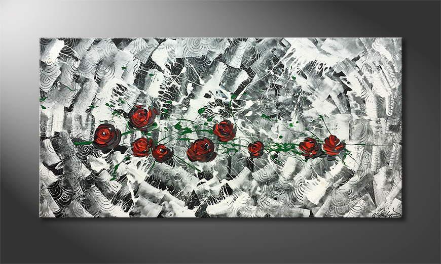 Het canvas Rose Universe 140x70x2cm