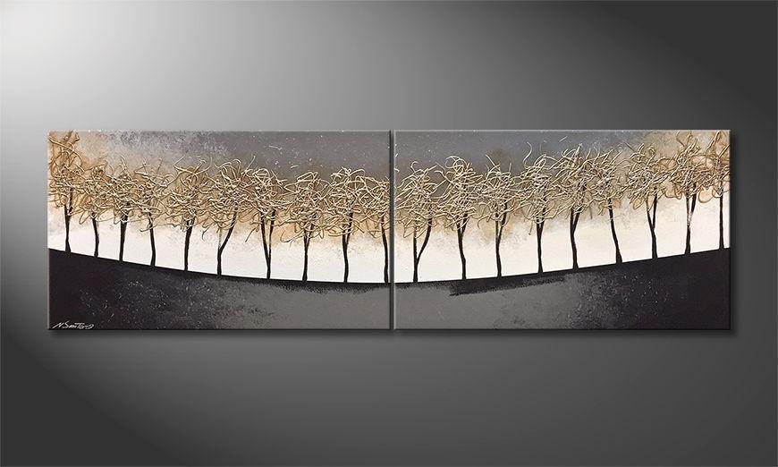 Het canvas Silver Trees 200x60x2cm
