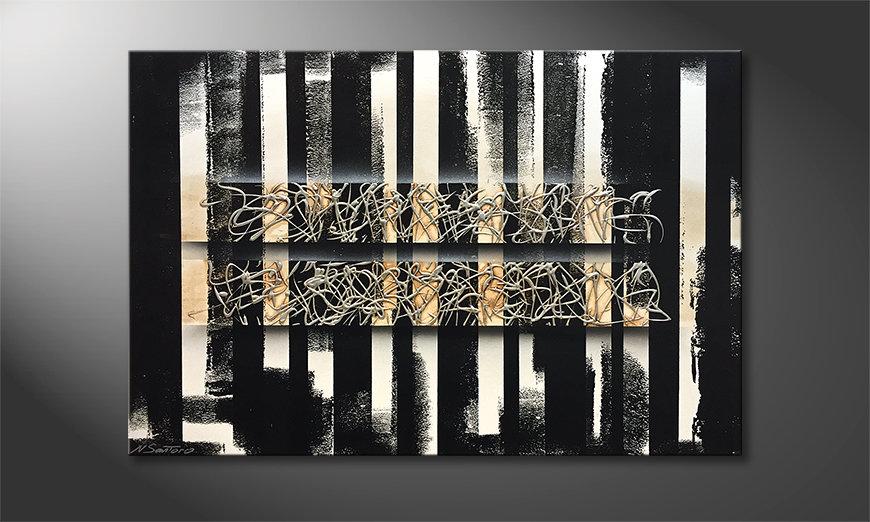 Het canvas White Stripes 120x80x2cm