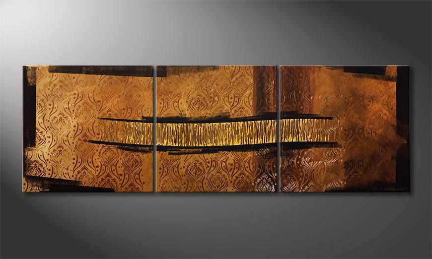 Het exclusieve schilderij Golden Way 210x70x2cm