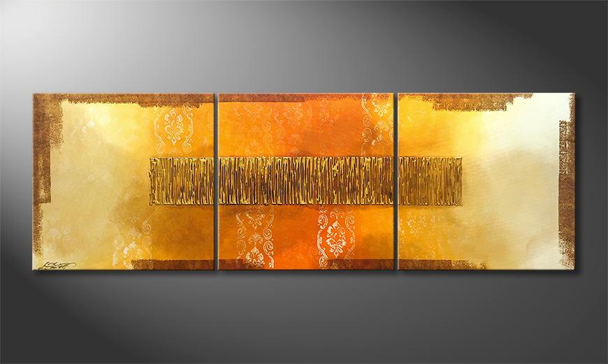 Het exclusieve schilderij Indian Gold 180x60x2cm