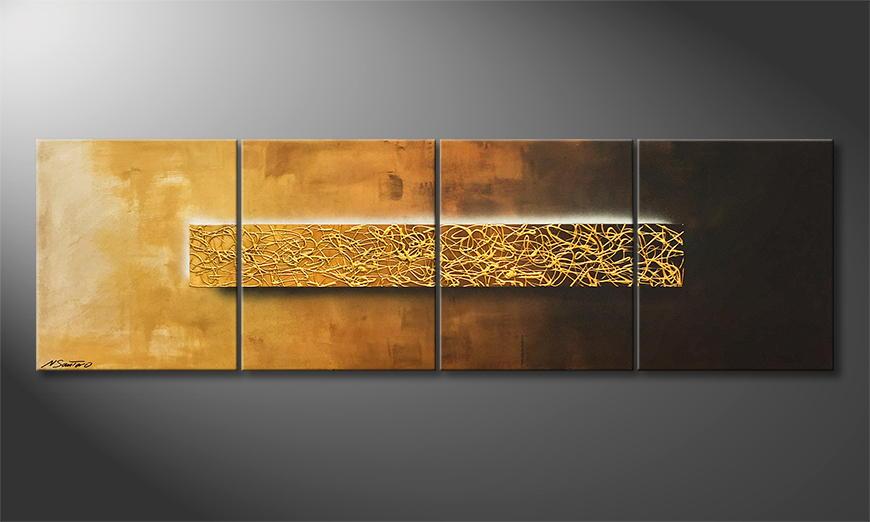Het exclusieve schilderij Middle Of Gold 200x60x2cm