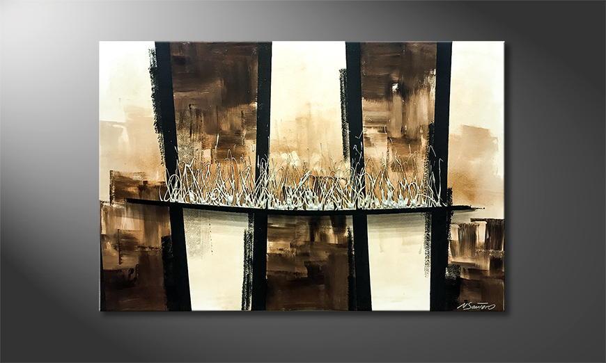 Het exclusieve schilderij Silver Explosion 120x80x2cm