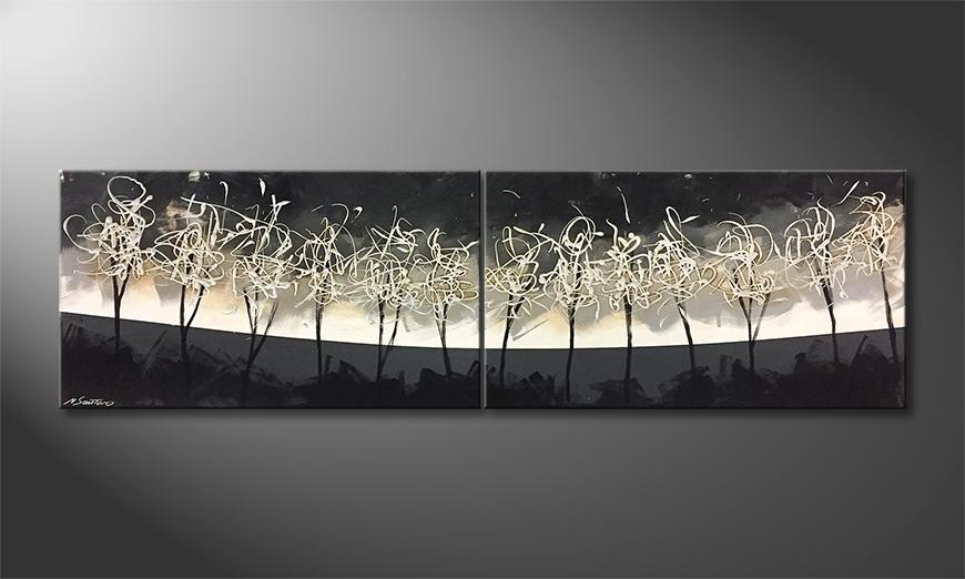 Het exclusieve schilderij Silver Trees 200x60x2cm