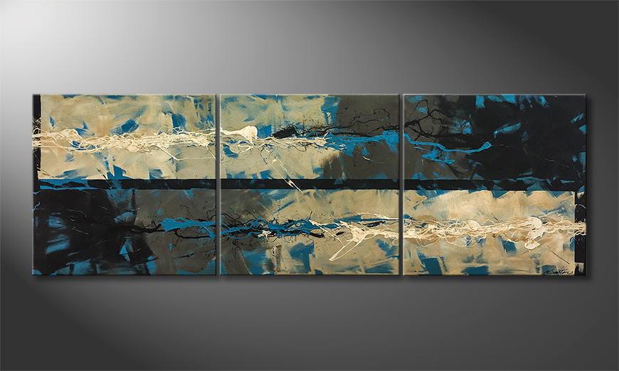 Het exclusieve schilderij Wild Water 210x70x2cm
