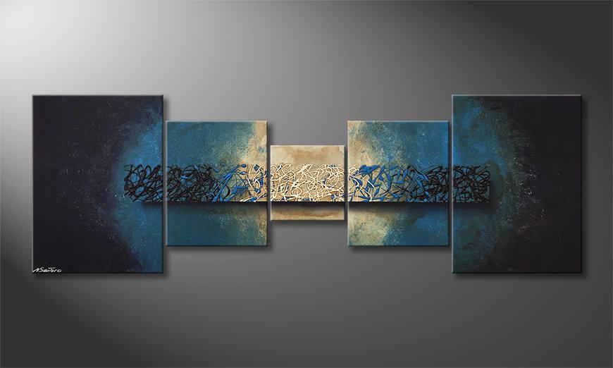 Het moderne beeld Deep Blue Light 210x70x2cm