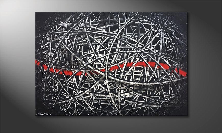 Het moderne beeld Red Line 120x80x2cm