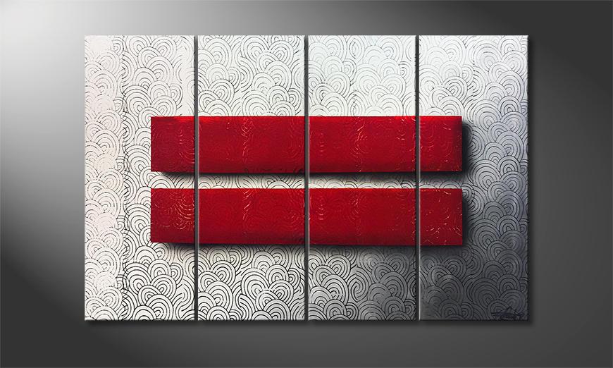 Het moderne beeld Red Silence 120x80x2cm
