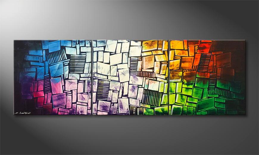 Moderne wall art Disarranged Colors 210x70x2cm