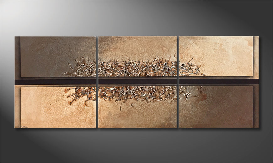 Moderne wall art Divided Silver 180x70x2cm