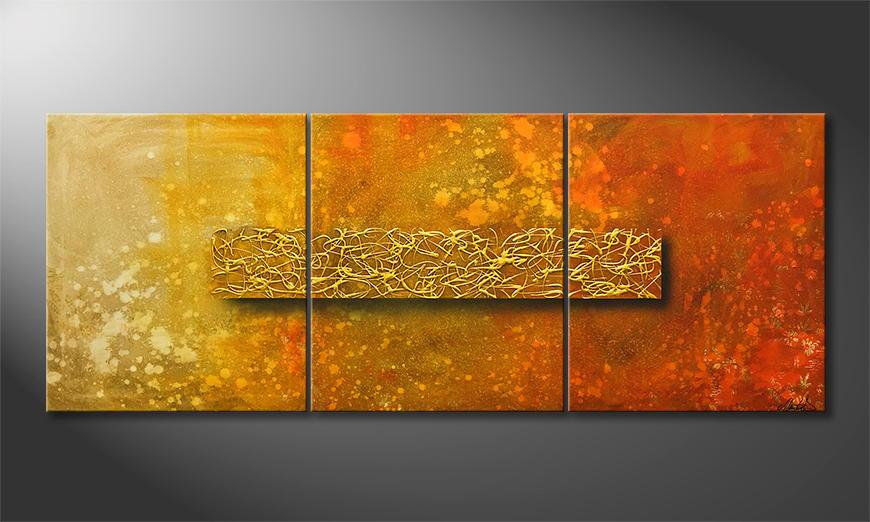 Moderne wall art Golden Heat 180x70x2cm