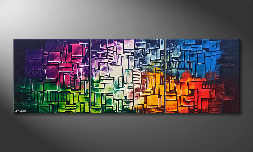 Moderne wall art Invasion Of Colors 210x70x2cm