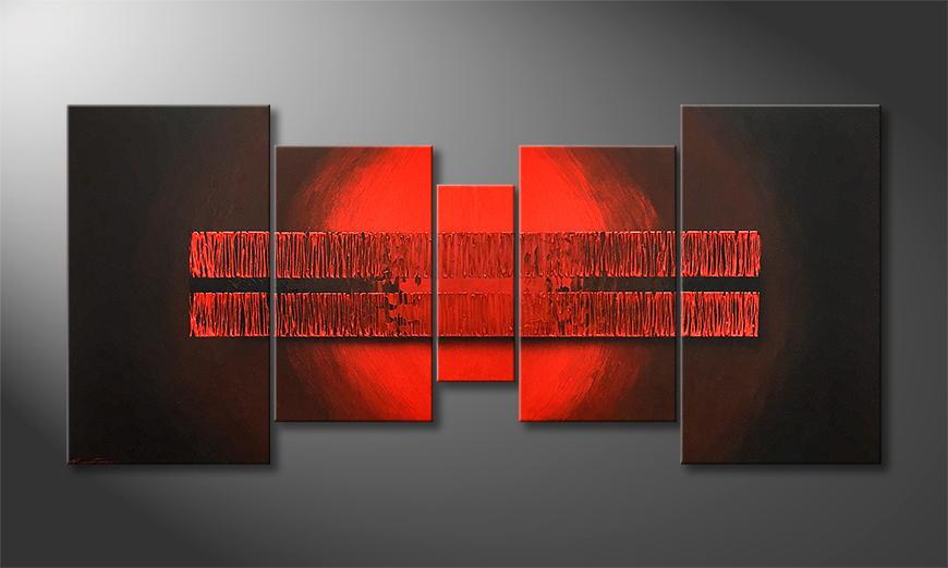 Onze schilderij Burning Red 200x70x2cm