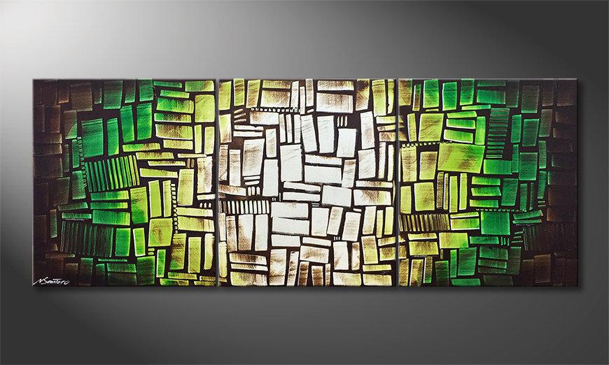 Onze schilderij Cubes Of Hope 180x70x2cm