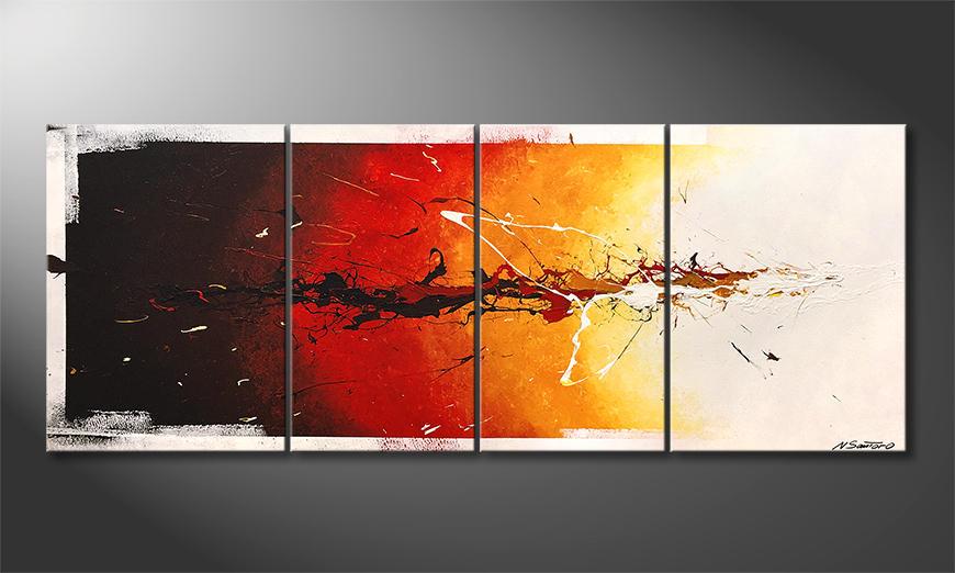 Onze schilderij Fire On Ice 180x70x2cm