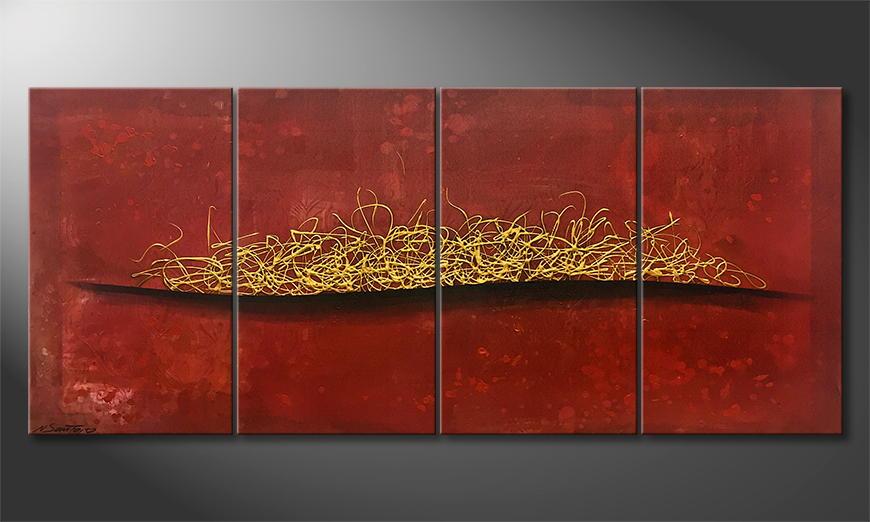 Onze schilderij Golden Fire 160x70x2cm