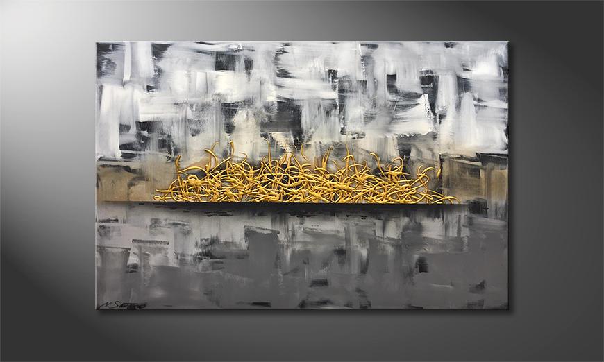Onze schilderij Golden Struggle 120x80x2cm