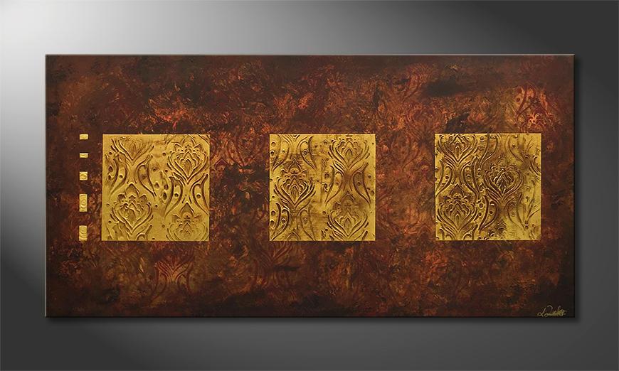 Onze schilderij Golden Windows 140x70x2cm