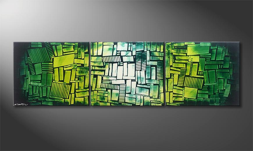 Onze schilderij Green Hope 210x60x2cm
