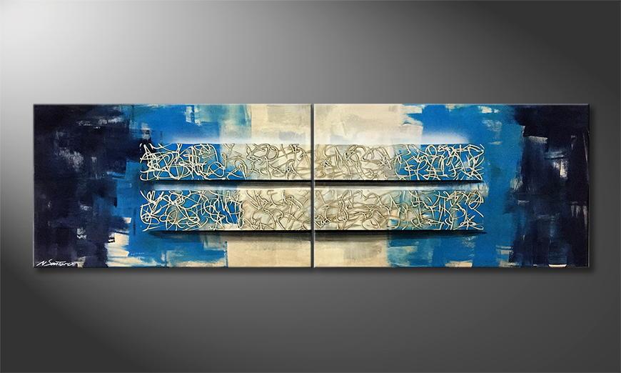 Onze schilderij Liquid Blocs 200x60x2cm
