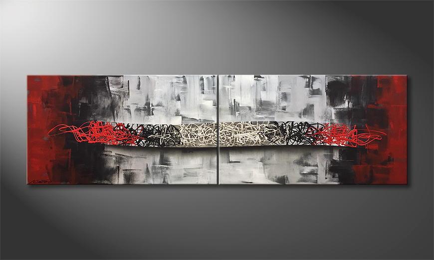 Onze schilderij Merging Opposites 200x60x2cm
