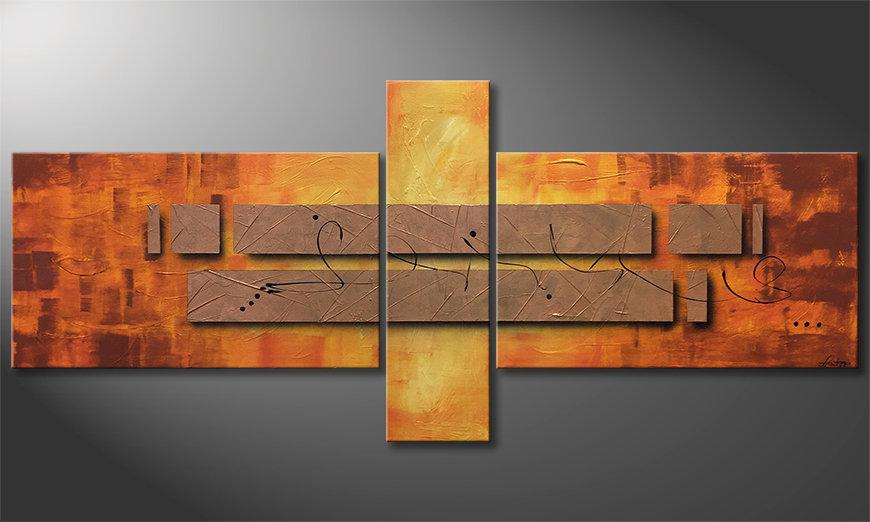 Onze schilderij Pieces of Afterglow 230x100x2cm