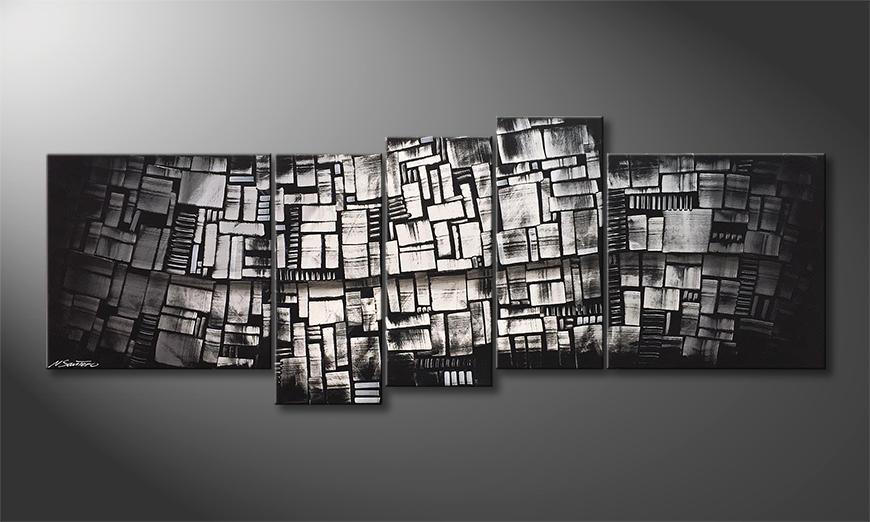 Onze schilderij Shadow Cubes 210x80x2cm