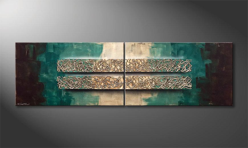 Onze schilderij Silver Crush 200x60x2cm