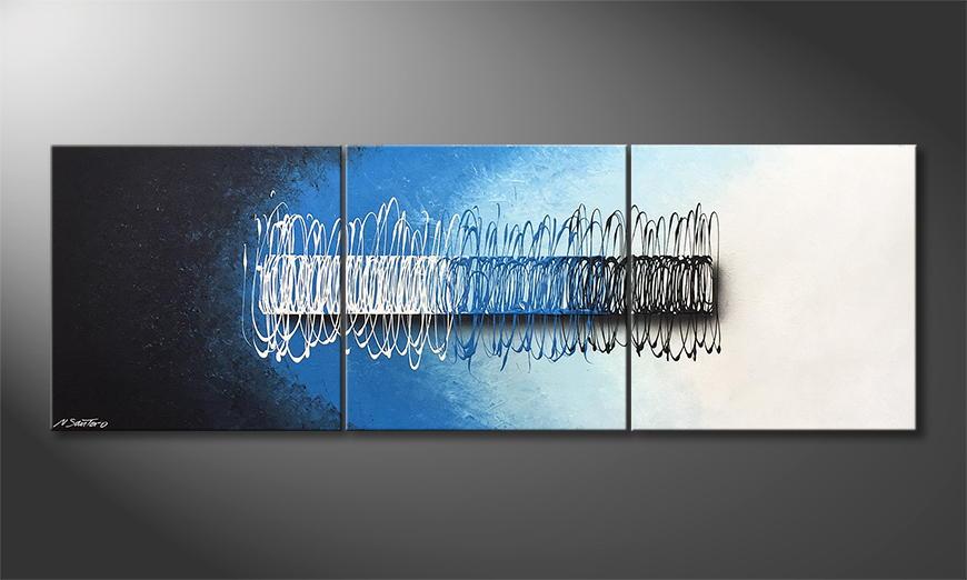 Onze schilderij Swinging Water 210x70x2cm