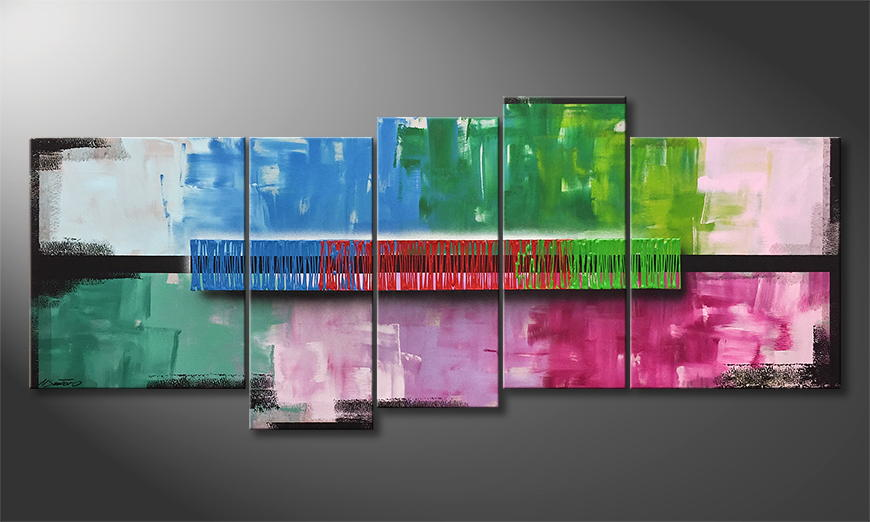 Woonkamer schilderij Color Rain 190x80x2cm