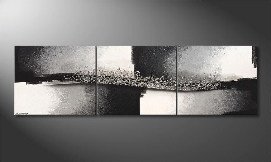 Woonkamer schilderij Connecting Silver 240x70x2cm