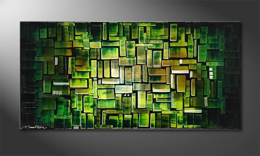 Woonkamer schilderij Cubic Jungle 120x60x2cm
