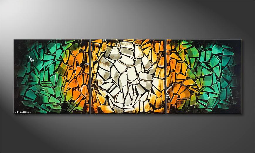 Woonkamer schilderij Dancing Cubes 210x70x2cm