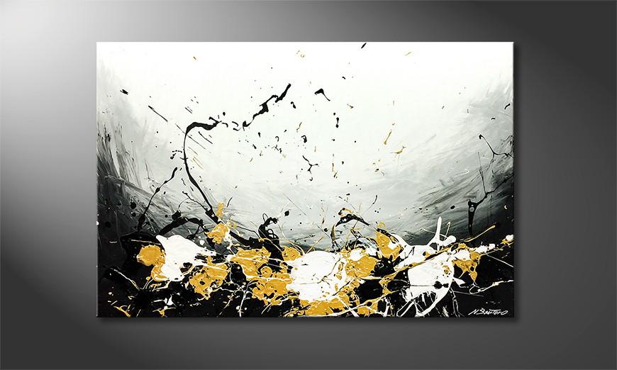 Woonkamer schilderij Erupted Gold 120x80x2cm