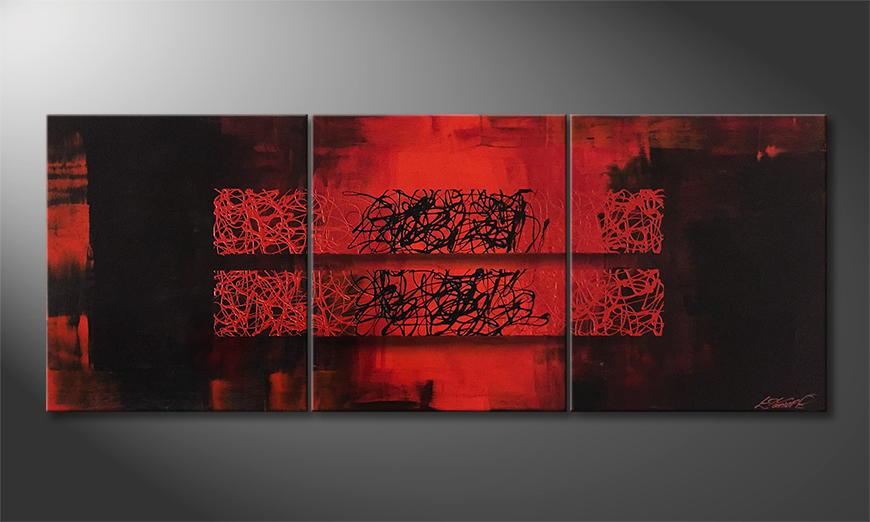 Woonkamer schilderij Glowing Blocs 180x70x2cm