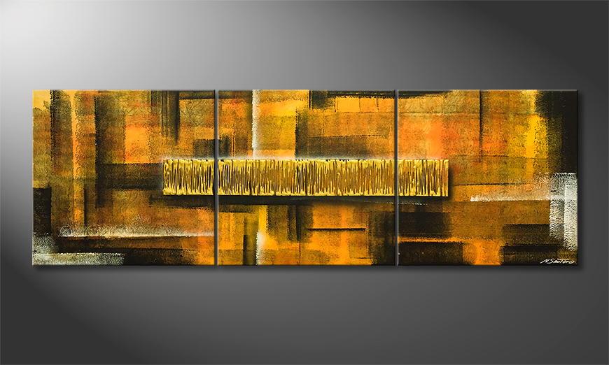 Woonkamer schilderij Golden Matrix 210x70x2cm