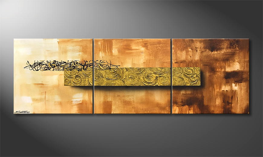 Woonkamer schilderij Golden Roses 180x60x2cm