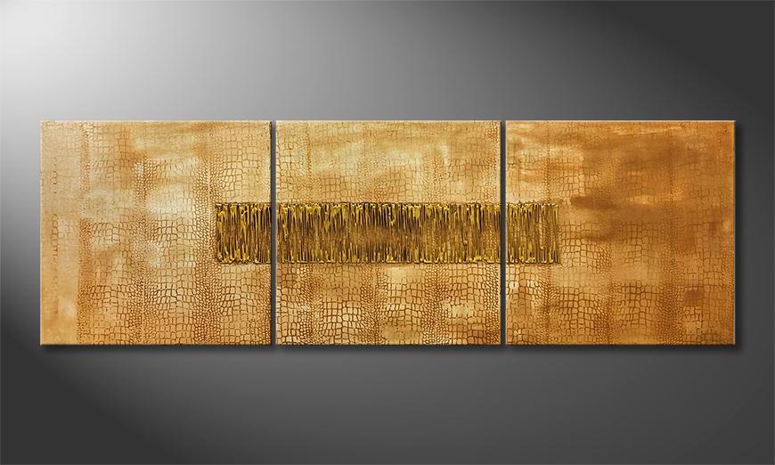 Woonkamer schilderij Golden Times 180x60x2cm
